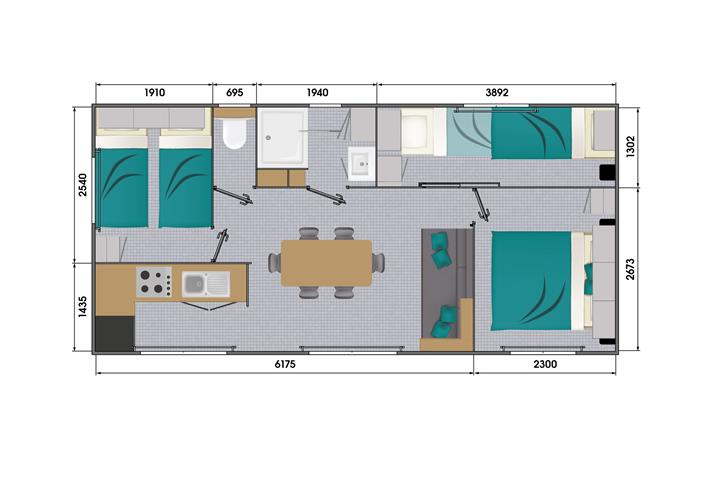 mobilhome GRAND LARGE 3 LOUISIANE 2021 3 chambres - Camping Les Prairies | Assérac